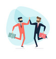 two businessman jump to high five in the air vector image vector image
