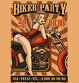 vintage poster with pin up girl and motorcycle vector image