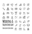 wedding and valentines day icons set vector image vector image
