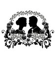 wedding silhouette with flourishes 9 vector image vector image