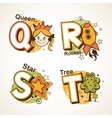 Alphabet set from Q to T vector image