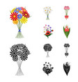 a bouquet of fresh flowers cartoonblack icons in vector image