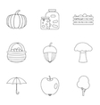 Autumn icons set outline style vector image