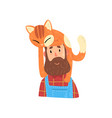 bearded hipster man and his red cat adorable pet vector image vector image