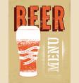 beer menu design vintage grunge style beer poster vector image vector image