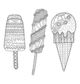 Black and white decorative ice cream for coloring vector image