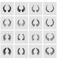 black laurel wreaths icon set vector image
