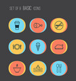 cafe icons set with roasted hen plate soup and vector image