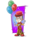 Cartoon standing clown with balloons vector image vector image