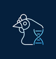Chicken with dna colorful outline icon