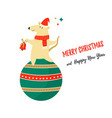 christmas card with cute funny dancing mouse vector image