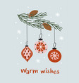 christmas card with pine branch and ball vector image vector image
