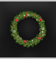 christmas tree wreath template for greeting card vector image vector image