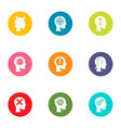 cognition icons set flat style vector image