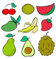 collection stock of fruit various doodles style vector image vector image
