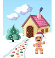 colorful gingerbread man invintes to come to his vector image vector image