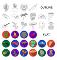 country mexico flat icons in set collection for vector image vector image