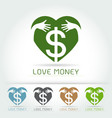 dollar sign iconhug and love save money concept vector image