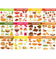 fruit vegetable and nut dishes food cooking vector image vector image