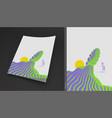 futuristic of ocean waves and sun vector image vector image