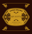 gold label border carving quality vector image vector image
