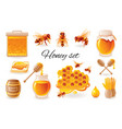 honey beekeep icon set with honeycomb honeybee vector image