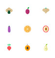 icons flat style beet pear eggplant and other vector image vector image
