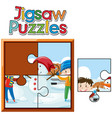 jigsaw puzzle pieces of kids and snowman vector image vector image