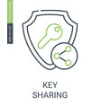 key sharing icon with outline style and editable vector image vector image