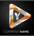 letter y logo symbol in the colorful triangle on vector image vector image