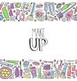 make up doodle horizontal pattern with lipstick vector image vector image