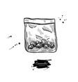 marijuana buds in plastic bag drawing vector image