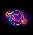 neon sign with hearts in circles vector image vector image