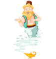 Old genie floating out from the lamp vector image