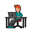 person using laptop computer icon image vector image