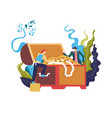 pirate stealing treasury box full of wealthy vector image