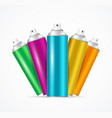 realistic aluminium colorful spray can set vector image