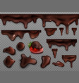 realistic drops and stains melted chocolate vector image vector image