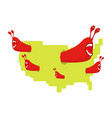 red communist worms eat map usa pests in america vector image vector image