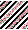 rose seamless pattern black white stripe vector image vector image
