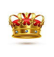 royal crown gold velvet realistic vector image vector image
