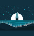 sailing ship at night against the full moon vector image vector image