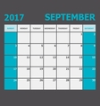 September 2017 calendar week starts on Sunday vector image vector image