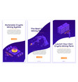 set isometric crypto mining concept banners vector image