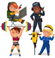 set not female professions strong woman police vector image