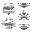 set vintage motorcycle design elements vector image