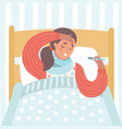 sick woman taking her temperature vector image