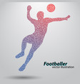 silhouette a football player from triangles vector image