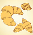 Sketch croissants set in vintage style vector image vector image