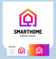 smart or technology home logo in line style with vector image vector image